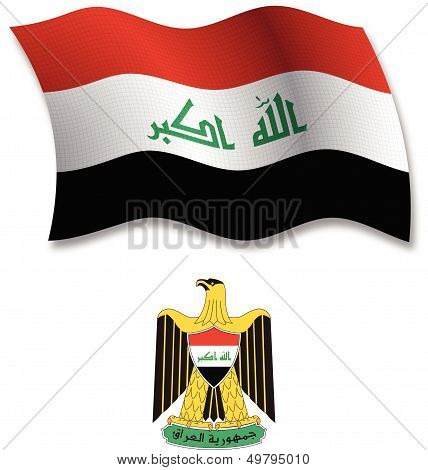 Iraq Textured Wavy Flag Vector