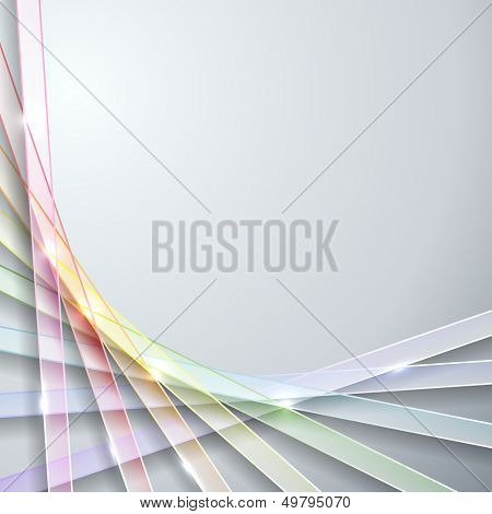Abstract transparent rainbow ribbons on gray background