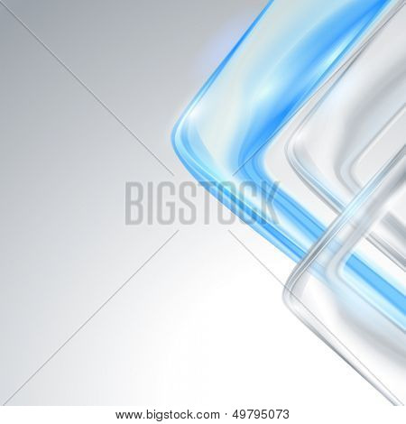 Grey abstract background with blue element