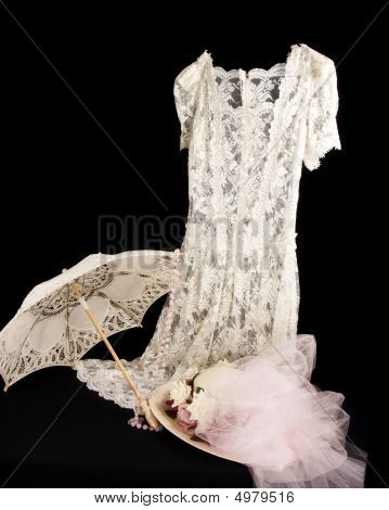 Old Fashioned Lace Dress And Hat