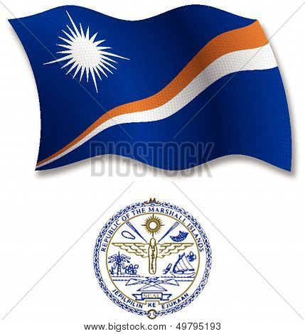 Marshall Islands Textured Wavy Flag Vector
