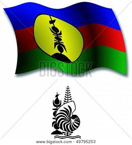 New Caledonia Textured Wavy Flag Vector