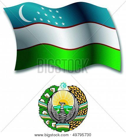 Uzbekistan Textured Wavy Flag Vector