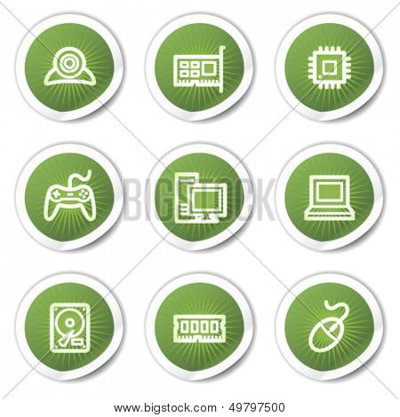 Computer web icons, green  stickers