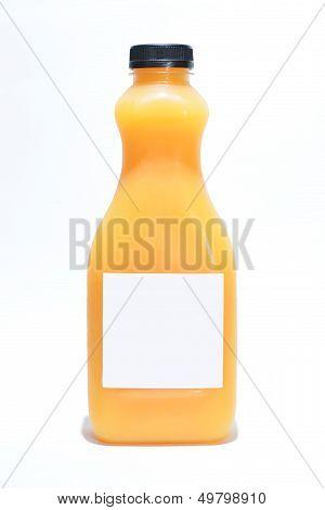 Bottle With Orange Juice On White Background