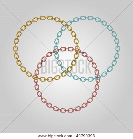 Triple Ring Chains With Gold, Silver And Bronze