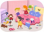 picture of untidiness  - Illustration of Girls Playing in a Typical Girl - JPG