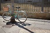 stock photo of calatrava  - Bike parked in front of the stairs of College of the Immaculate Conception commonly called Calatrava College Salamanca - JPG