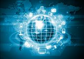 picture of globalization  - Digital image of globe with conceptual icons - JPG