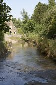 Ford Through River At Lacock. Wiltshire. UK