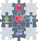 stock photo of cardiology  - Healthy lifestyle puzzle - JPG