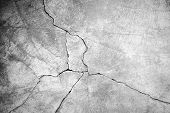 pic of solid  - Grunge concrete cement wall with crack in industrial building great for your design and texture background - JPG