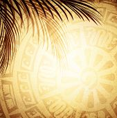 Background With Petroglyph And Palm Leaves