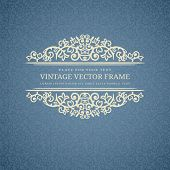 foto of invitation  - Vintage Beige Frame on Blue Retro Background - JPG