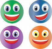 Set of happy smileys