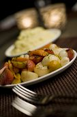 stock photo of thumbelina  - Mashed potatoes and mixed vegetable side dishes