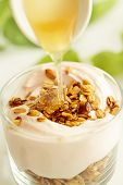 stock photo of yogurt  - fresh yogurt with fruits and granola - JPG