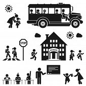 stock photo of pedestrian crossing  - Children go to school - JPG