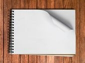 White Sketch Book One Horizontal Page On Wood
