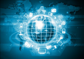 picture of globe  - Digital image of globe with conceptual icons - JPG