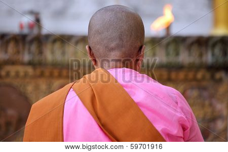 YANGON, MYANMAR - DECEMBER 4, 2013: Buddhist nun praying at the Shwedagon Paya - one of the most important pilgrimage destination for Theravada Buddhists.