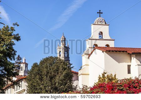 Steeples White Adobe Mission Santa Barbara Cross Bell Bougainvillea California
