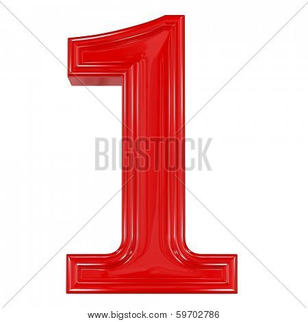 3d shiny red font made of plastic or ceramic - figure number one. Isolated on white.
