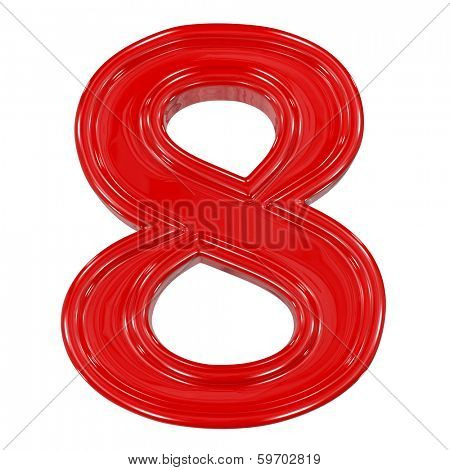 3d shiny red font made of plastic or ceramic - figure number eight. Isolated on white.