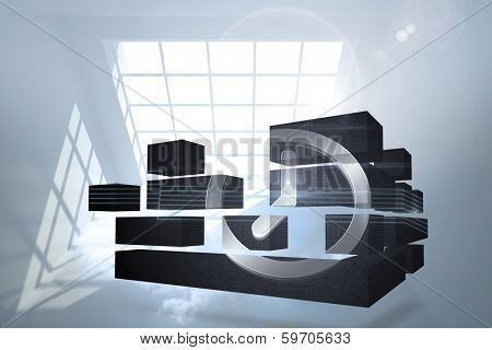 Clock graphic on abstract screen against room with holographic cloud