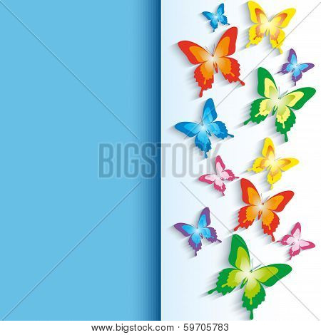 Background With 3D Colorful Butterflies