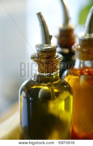 Bottle Of Extra Virgin Olive Oil And Balsamic Vinegar