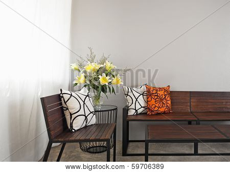Patio Lounge With Wooden Bench