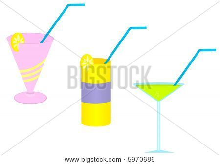 Illustration of three colored cocktail glasses with drinking straws