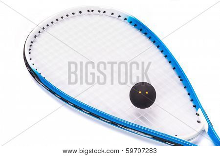 Close up of a squash racket and ball