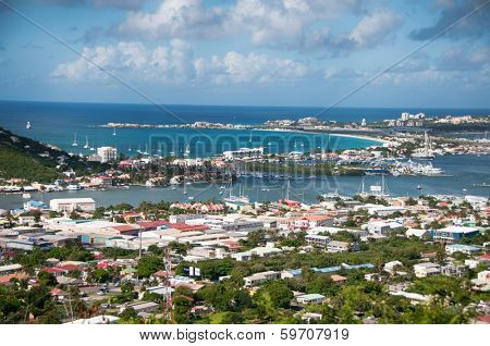 Panoramic view of Saint Martin in the Carribean