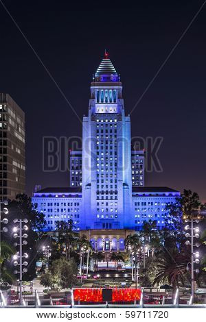 LOS ANGELES, CALIFORNIA - NOVEMBER 7, 2013: Los Angeles City Hall at night. The building was completed in 1928.