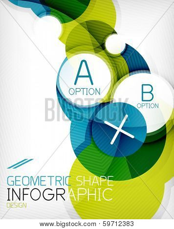 Glossy circle geometric shape info graphic background.