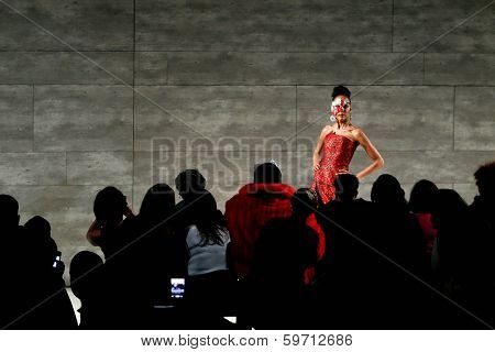 NEW YORK-FEB 12: A model walks the runway at the B Michael America fashion show during Mercedes-Benz Fashion Week Fall/Winter 2014 at Lincoln Center on February 12, 2014  in New York City.