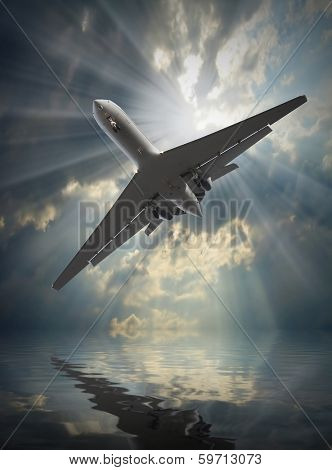 Jet passenger plane in dangerous situation over a sea. Travel and life insurance concept.