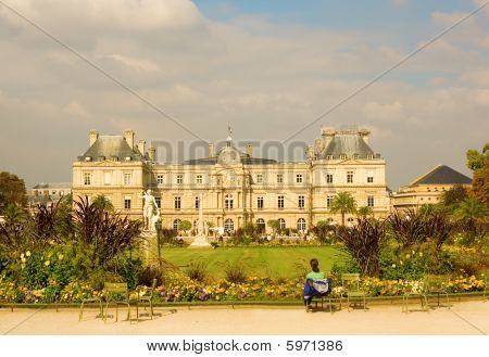 View Of Luxembourg Palace In The Luxembourg Garden, Paris, France