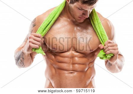 Strong Athletic Man Fitness Model Torso Showing Six Pack Abs.