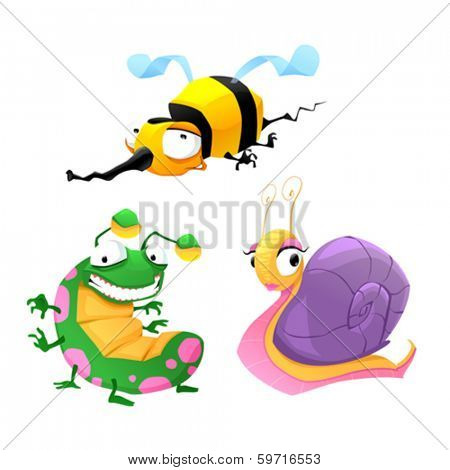 Two funny insects and one snail. Cartoon isolated vector characters.