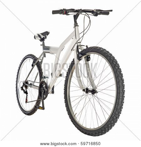 mountain bike isolated on white background, frontal view