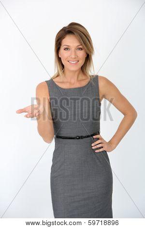 Beautiful businesswoman presenting message