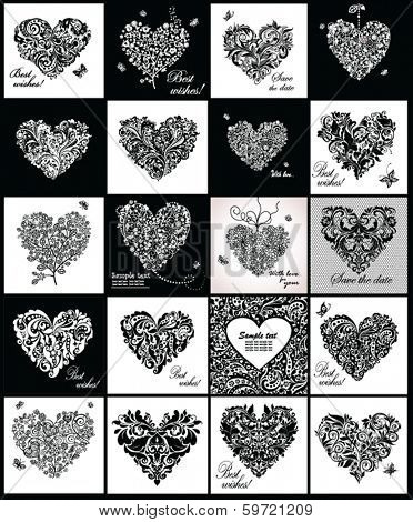 Black and white greeting cards with hearts shape