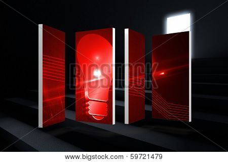Red light bulb graphic on abstract screen against steps leading to light in the darkness