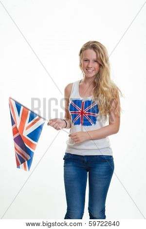 patriotic person with union flag