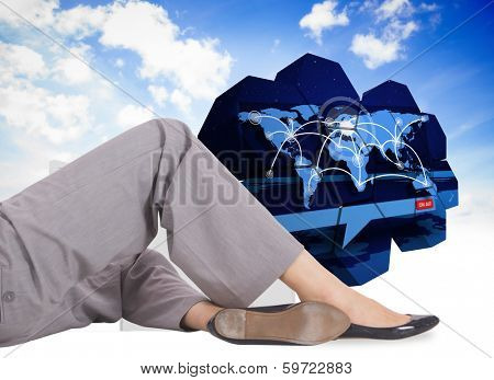 Relaxed businesswoman lying against closed and open doors in sky