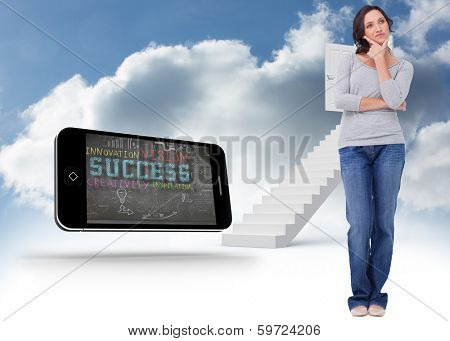 Young woman in thinkers pose against steps leading to open door in the sky