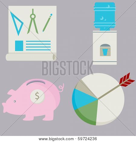 An image of a business financial flat icon set.